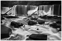 Great Falls, high flow, Bedford Reservation. Cuyahoga Valley National Park ( black and white)