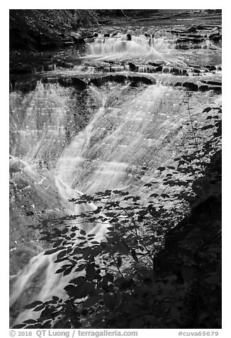 Bridal Veil Falls flowing over shale, Bedford Reservation. Cuyahoga Valley National Park (black and white)