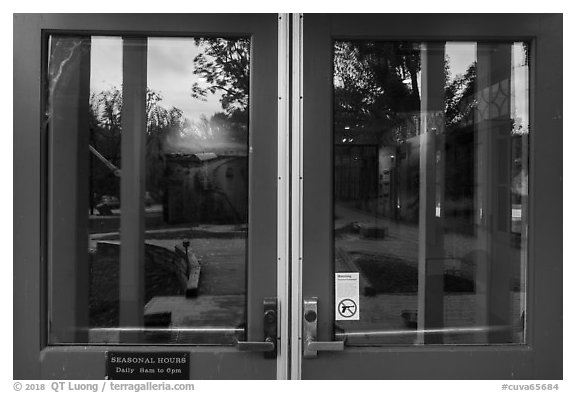 Window reflexion, Boston Store Visitor Center. Cuyahoga Valley National Park (black and white)