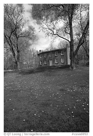 Frazee house with spring wildflowers. Cuyahoga Valley National Park (black and white)