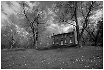 Frazee house with spring wildflowers. Cuyahoga Valley National Park, Ohio, USA. (black and white)