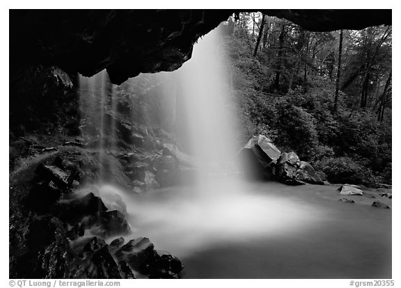 Grotto falls seen from under overhang, Tennessee. Great Smoky Mountains National Park (black and white)