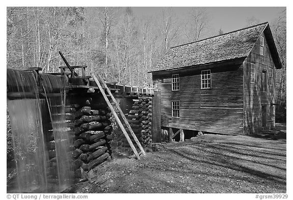 Millrace carrying water to Mingus Mill, North Carolina. Great Smoky Mountains National Park (black and white)