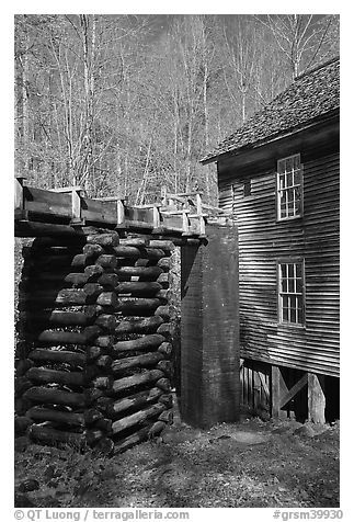 Millrace and Mingus grist mill, North Carolina. Great Smoky Mountains National Park (black and white)