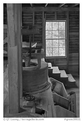 Main room of Mingus Mill, North Carolina. Great Smoky Mountains National Park (black and white)