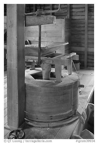 Grist stone, Mingus Mill, North Carolina. Great Smoky Mountains National Park (black and white)