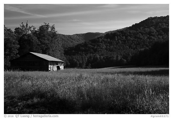 Caldwell Barn and Cataloochee Valley, North Carolina. Great Smoky Mountains National Park (black and white)
