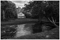 River and Caldwell House, Cataloochee, North Carolina. Great Smoky Mountains National Park ( black and white)