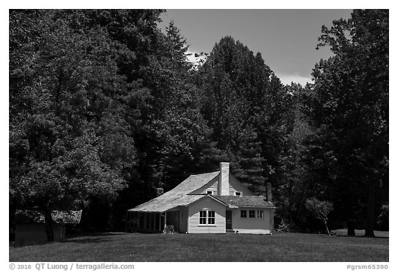 Palmer House, Little Cataloochee, North Carolina. Great Smoky Mountains National Park (black and white)