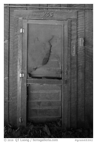 Door near Palmer House, Little Cataloochee, North Carolina. Great Smoky Mountains National Park (black and white)