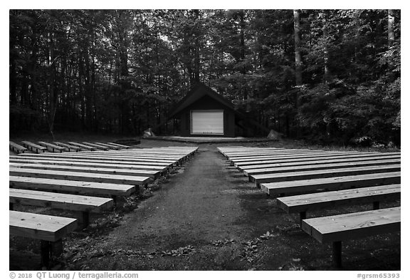 Amphitheater, Elkmont Campground, Tennessee. Great Smoky Mountains National Park (black and white)