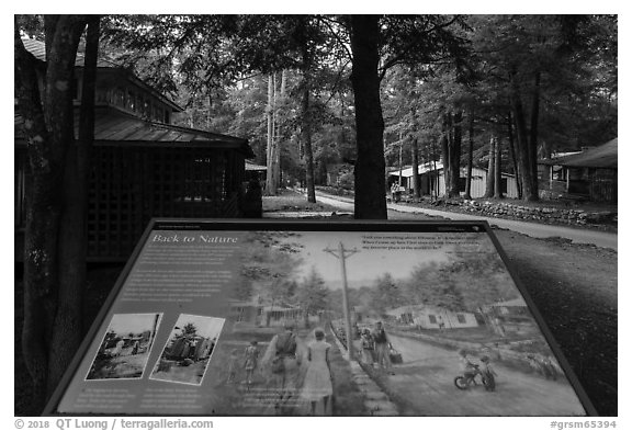 Back to Nature interpretive sign, Elkmont, Tennessee. Great Smoky Mountains National Park (black and white)