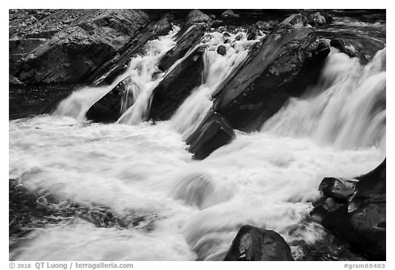 The Sinks waterfall of the Little River, Tennessee. Great Smoky Mountains National Park (black and white)