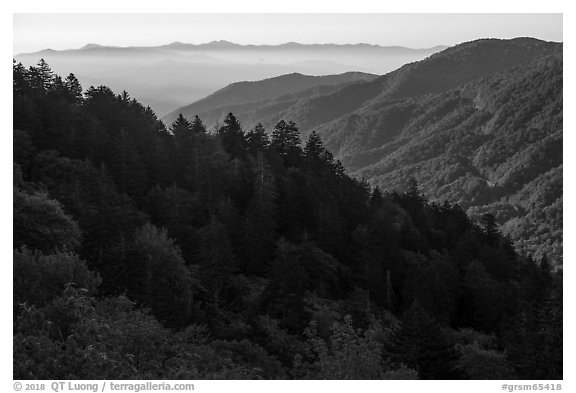 Ridges from Newfound Gap, North Carolina. Great Smoky Mountains National Park (black and white)