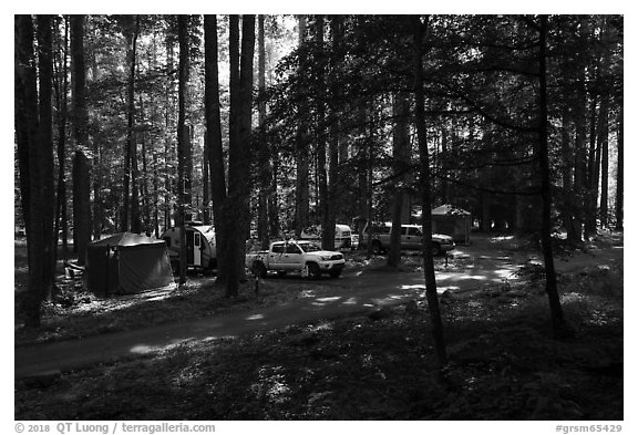 Trailer camping at Elkmont Campground, Tennessee. Great Smoky Mountains National Park (black and white)