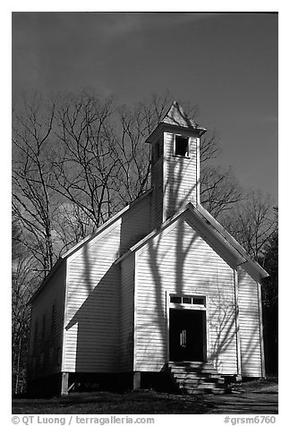 Missionary baptist church, Cades Cove, Tennessee. Great Smoky Mountains National Park (black and white)