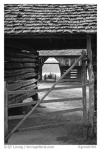 Barn seen through another barn, Cades Cove, Tennessee. Great Smoky Mountains National Park (black and white)