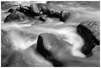 Rocks in river, Greenbrier, Tennessee. Great Smoky Mountains National Park ( black and white)