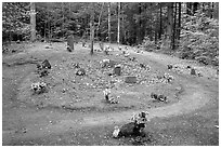 Pioneer Cemetery in forest clearing, Greenbrier, Tennessee. Great Smoky Mountains National Park ( black and white)