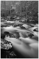 Boulders in flowing water, Middle Prong of the Little River, Tennessee. Great Smoky Mountains National Park, USA. (black and white)