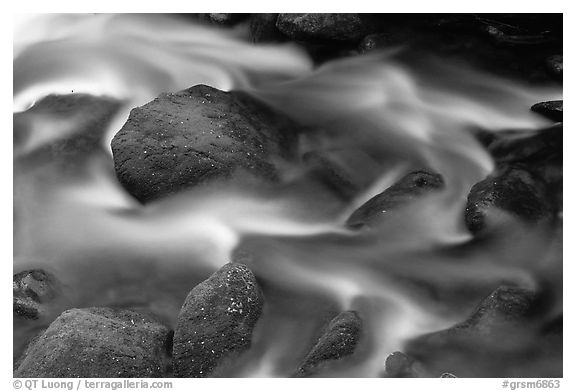 River flow and boulders covered with moss, Tennessee. Great Smoky Mountains National Park (black and white)