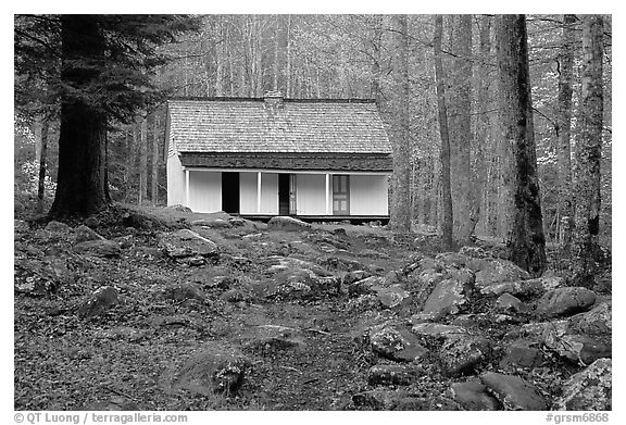 Alfred Reagan saddlebag house, Tennessee. Great Smoky Mountains National Park (black and white)