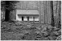 Alfred Reagan saddlebag house, Tennessee. Great Smoky Mountains National Park, USA. (black and white)