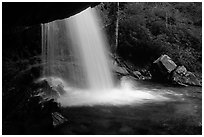 Grotto falls from behind, evening, Tennessee. Great Smoky Mountains National Park, USA. (black and white)