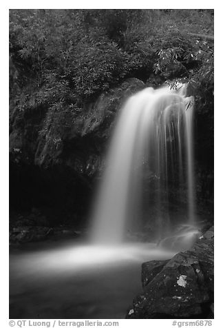 Grotto falls in darkness of dusk, Tennessee. Great Smoky Mountains National Park (black and white)