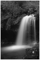 Grotto falls in darkness of dusk, Tennessee. Great Smoky Mountains National Park, USA. (black and white)