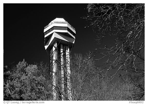 Hot Springs mountain tower. Hot Springs National Park (black and white)