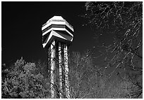 Hot Springs mountain tower. Hot Springs National Park, Arkansas, USA. (black and white)
