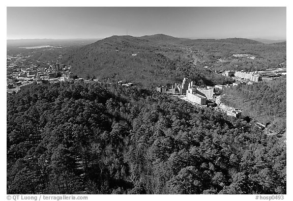 View of Hot Springs from the mountain tower in winter. Hot Springs National Park (black and white)