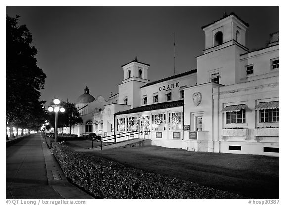 Ozark Bath and Bathhouse row at night. Hot Springs National Park (black and white)