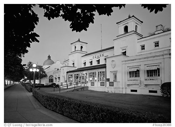 Ozark Bath and Bathhouse row at dusk. Hot Springs National Park (black and white)