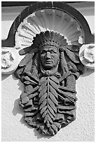 Bas relief depicting Indian chief on Quapaw Baths facade. Hot Springs National Park, Arkansas, USA. (black and white)