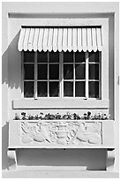 Window and shades, Ozark Baths. Hot Springs National Park, Arkansas, USA. (black and white)