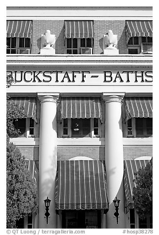 Blue shades, Buckstaff Baths. Hot Springs National Park (black and white)