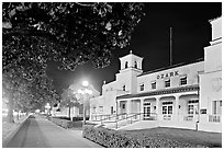 Ozark Baths and Bathhouse Row at night. Hot Springs National Park, Arkansas, USA. (black and white)