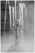 Detail of fountain with thermal steam. Hot Springs National Park, Arkansas, USA. (black and white)