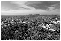 View over Hot Springs Mountain and West Mountain in the fall. Hot Springs National Park, Arkansas, USA. (black and white)