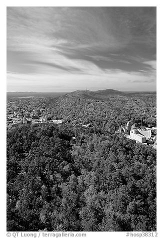 View over tree-covered hills in the fall. Hot Springs National Park (black and white)