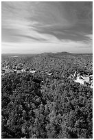 View over tree-covered hills in the fall. Hot Springs National Park, Arkansas, USA. (black and white)