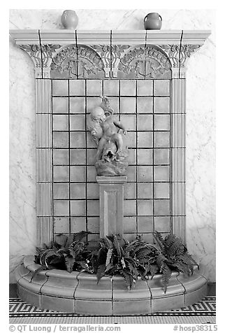 Cherub fountain in entrance hall, Fordyce Baths. Hot Springs National Park (black and white)