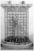 Cherub fountain in entrance hall, Fordyce Baths. Hot Springs National Park, Arkansas, USA. (black and white)