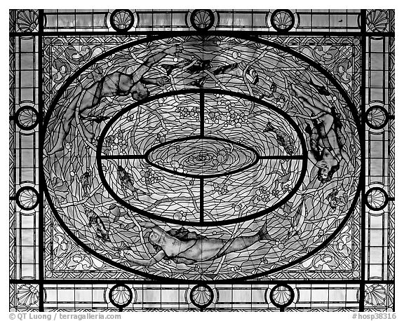 Stained glass on ceiling of men's room. Hot Springs National Park (black and white)