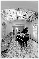 Music room with ceiling of art glass. Hot Springs National Park, Arkansas, USA. (black and white)