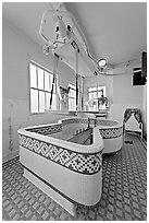 Hubbard Tub room. Hot Springs National Park ( black and white)