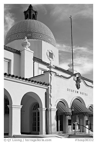 Quapaw Bathhouse. Hot Springs National Park (black and white)