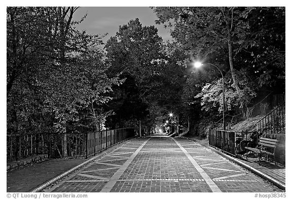 Grand Promenade at dusk. Hot Springs National Park (black and white)